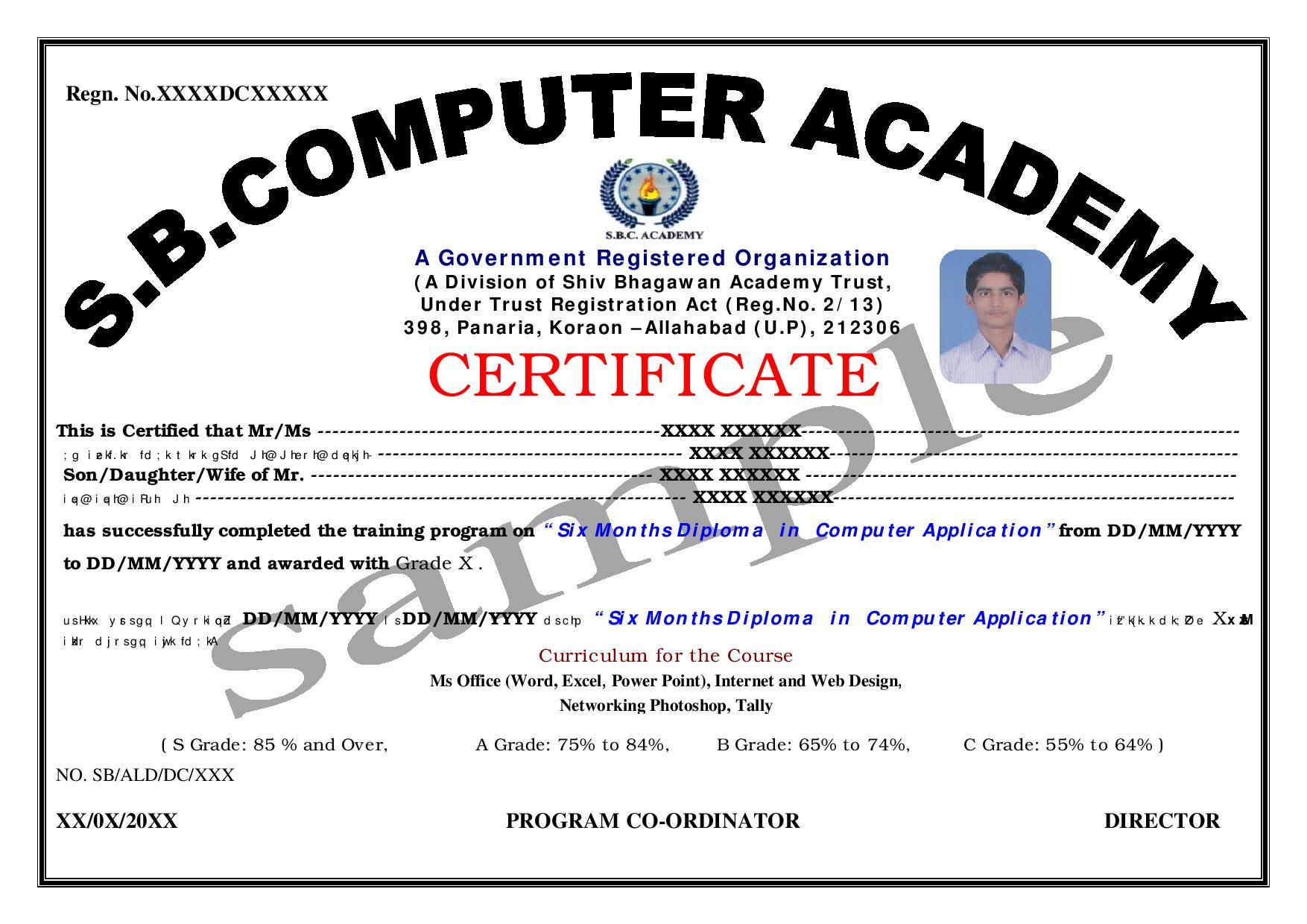 certificate dca sample